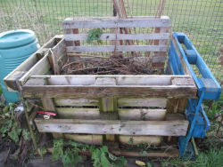 Compost bin made from old pallets tied together with garden wire.