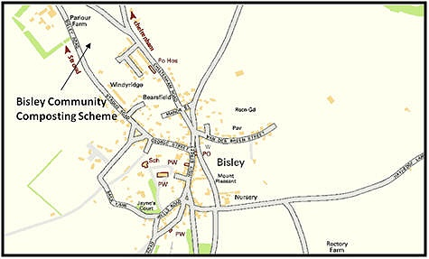 Map of how to find Bisley Community Compost Scheme